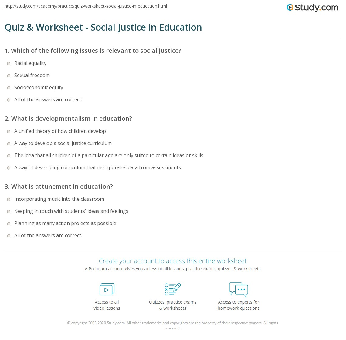 quiz & worksheet - social justice in education | study