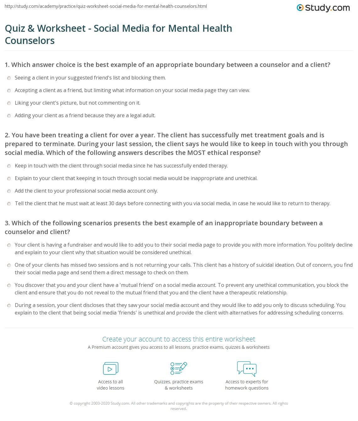 Quiz & Worksheet - Social Media for Mental Health ...