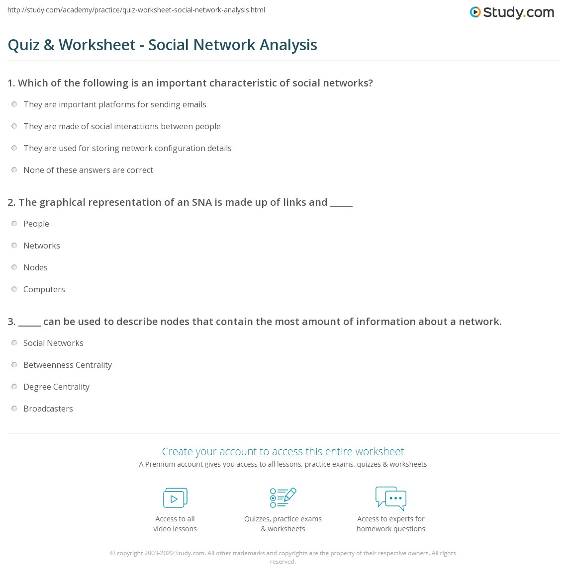 quiz worksheet social network analysis. Black Bedroom Furniture Sets. Home Design Ideas