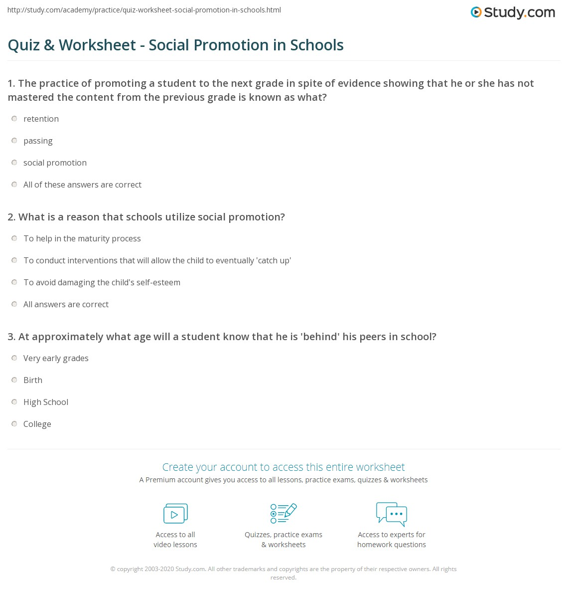 quiz worksheet social promotion in schools. Black Bedroom Furniture Sets. Home Design Ideas