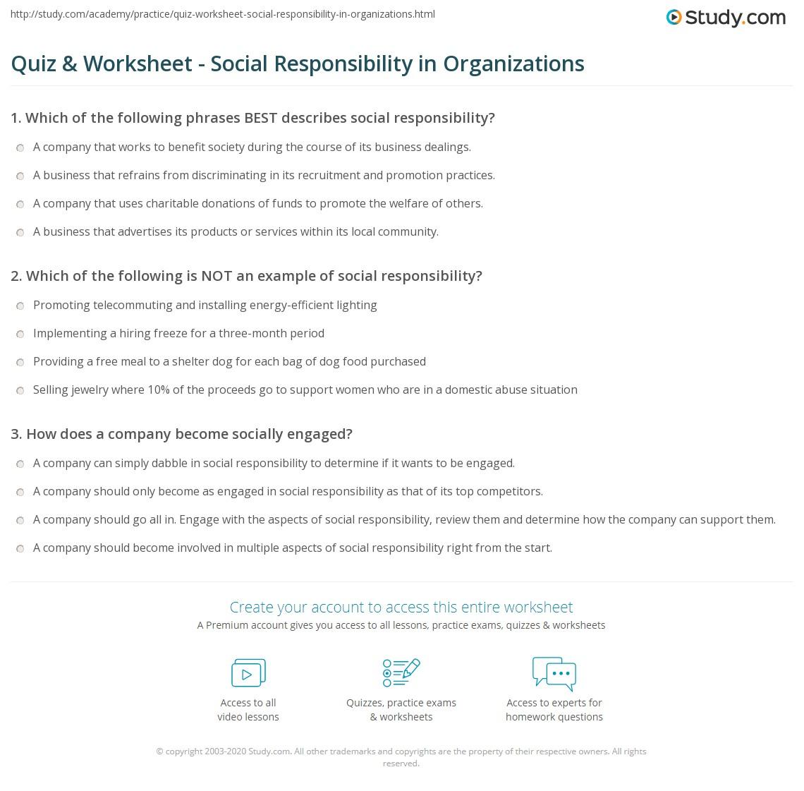 Quiz Worksheet Social Responsibility In Organizations Study