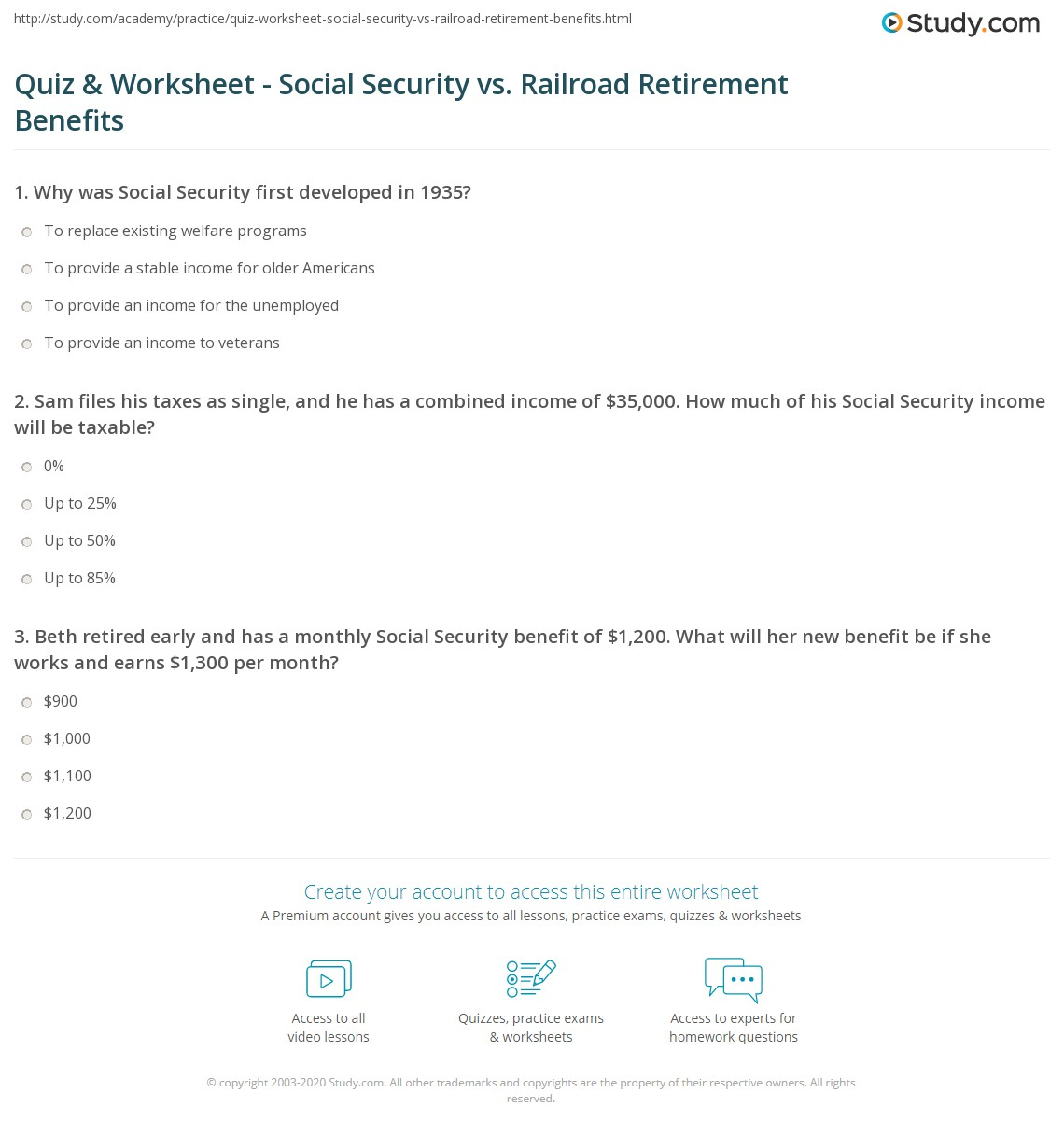 Worksheets Taxable Social Security Worksheet quiz worksheet social security vs railroad retirement benefits print taxation worksheet