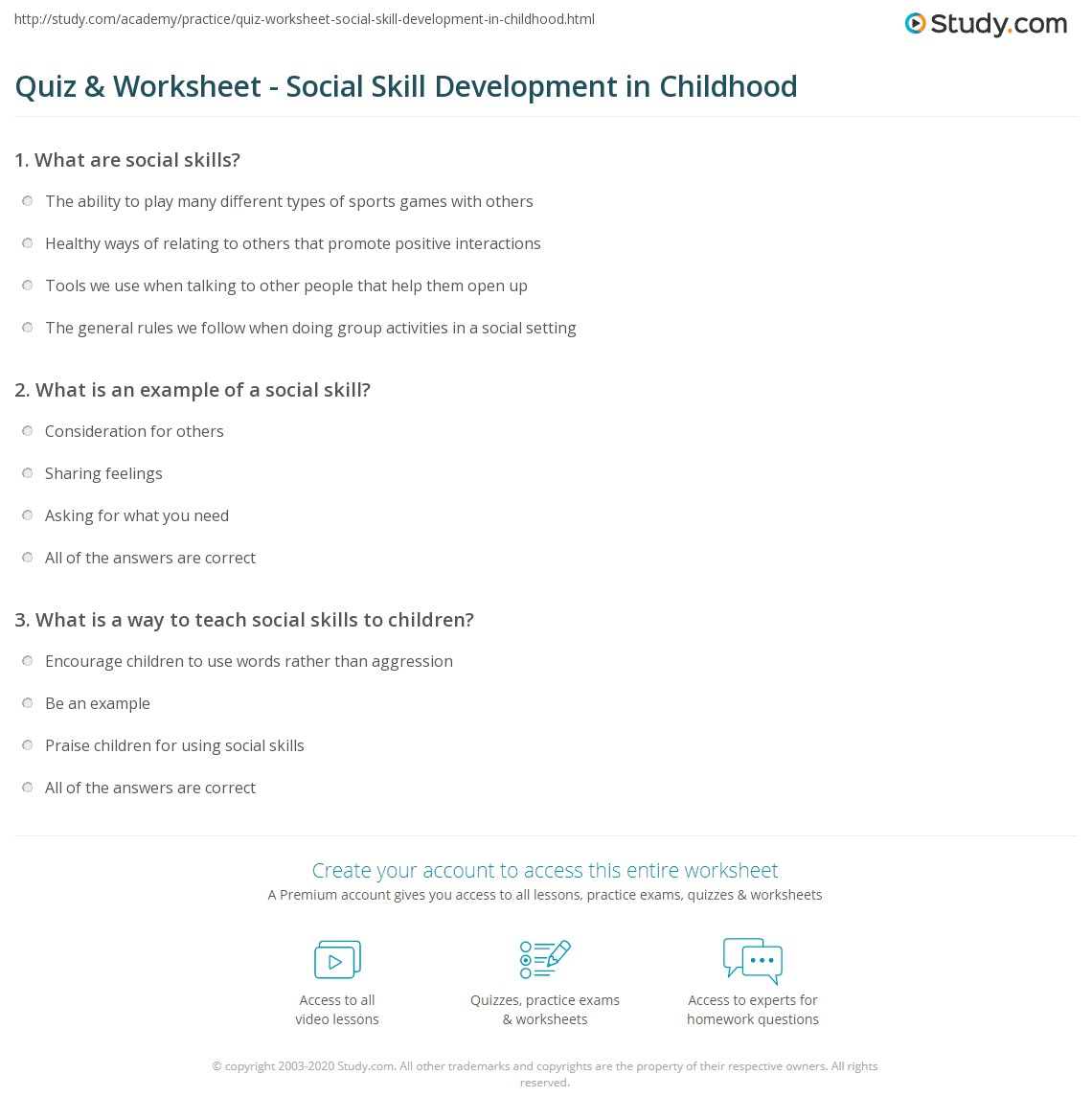 Quiz & Worksheet - Social Skill Development in Childhood | Study.com