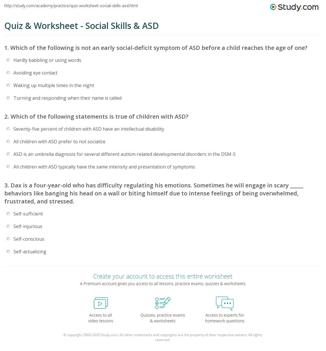 - Quiz & Worksheet - Social Skills & ASD Study.com