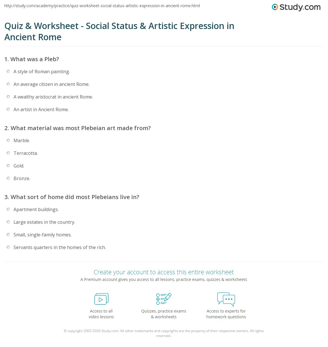 Quiz & Worksheet - Social Status & Artistic Expression in Ancient ...