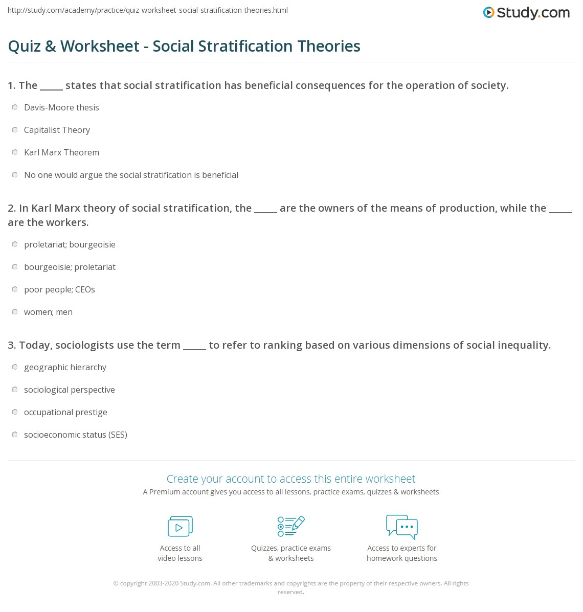print social stratification definition theories examples worksheet