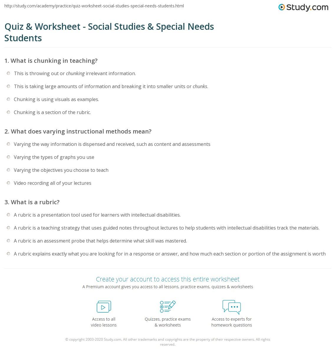 Quiz Worksheet Social Studies Special Needs Students Study