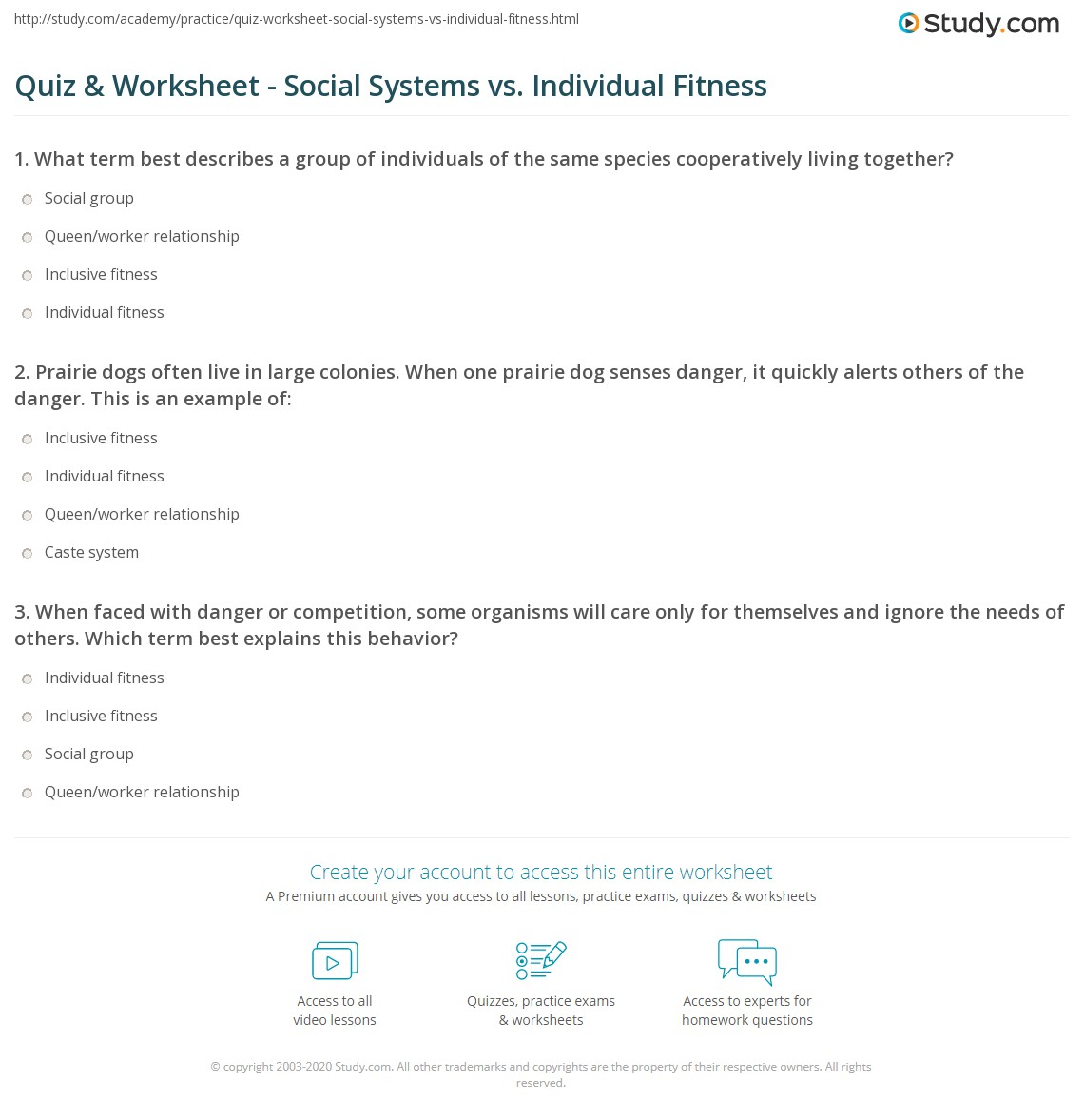 Quiz Worksheet Social Systems Vs Individual Fitness Study
