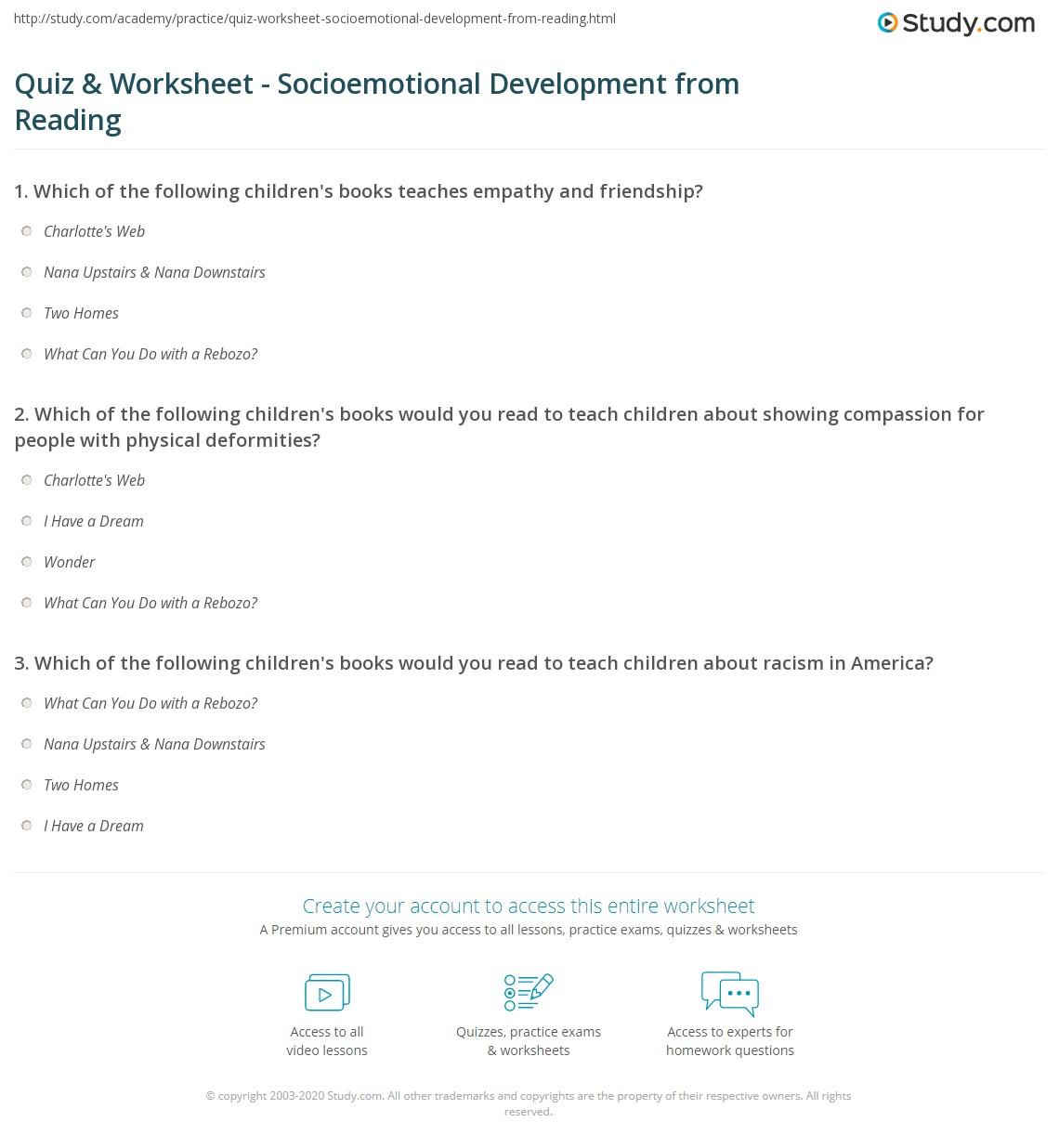 - Quiz & Worksheet - Socioemotional Development From Reading Study.com