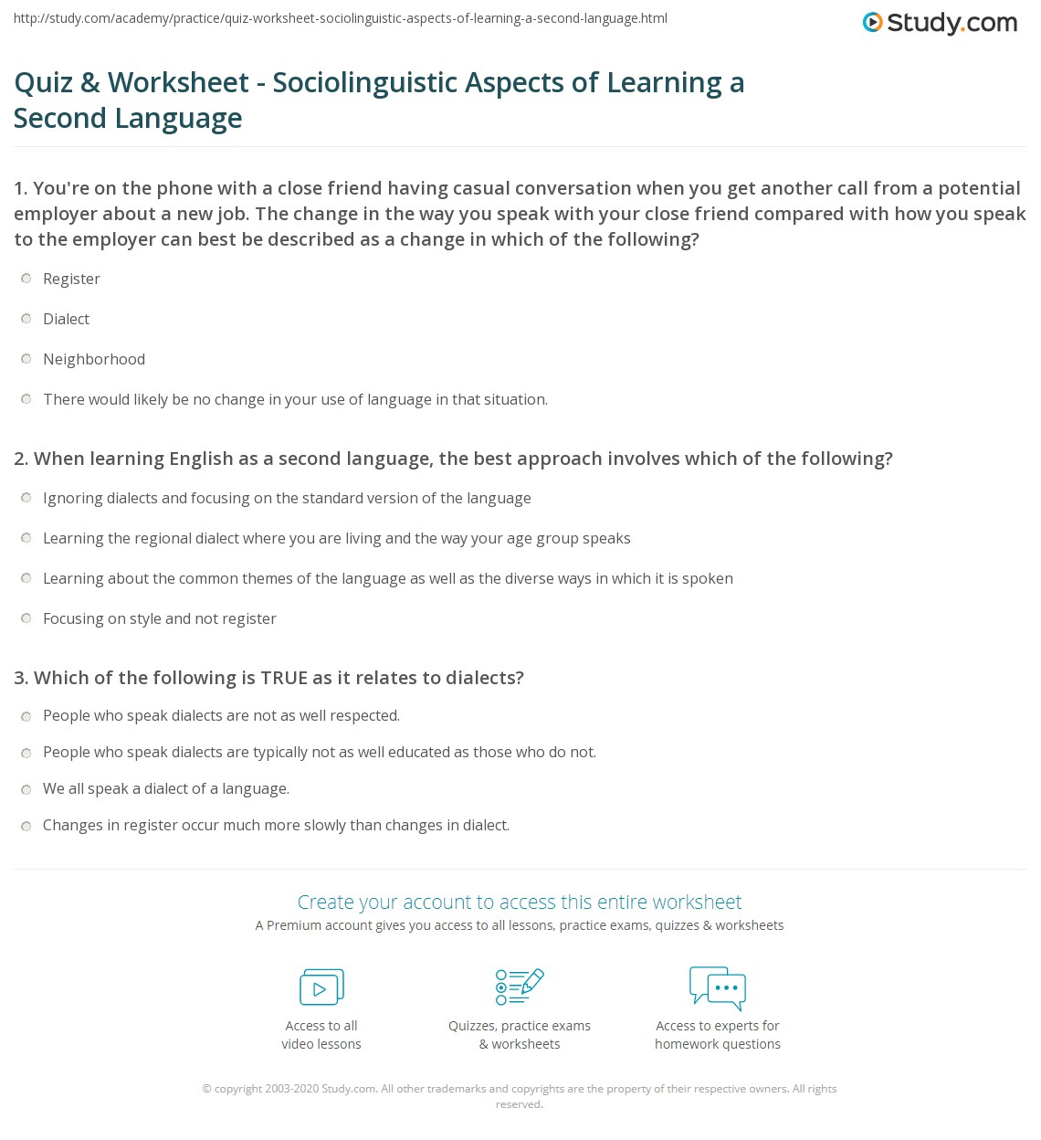 Quiz worksheet sociolinguistic aspects of learning a second when learning english as a second language the best approach involves which of the following 1betcityfo Image collections