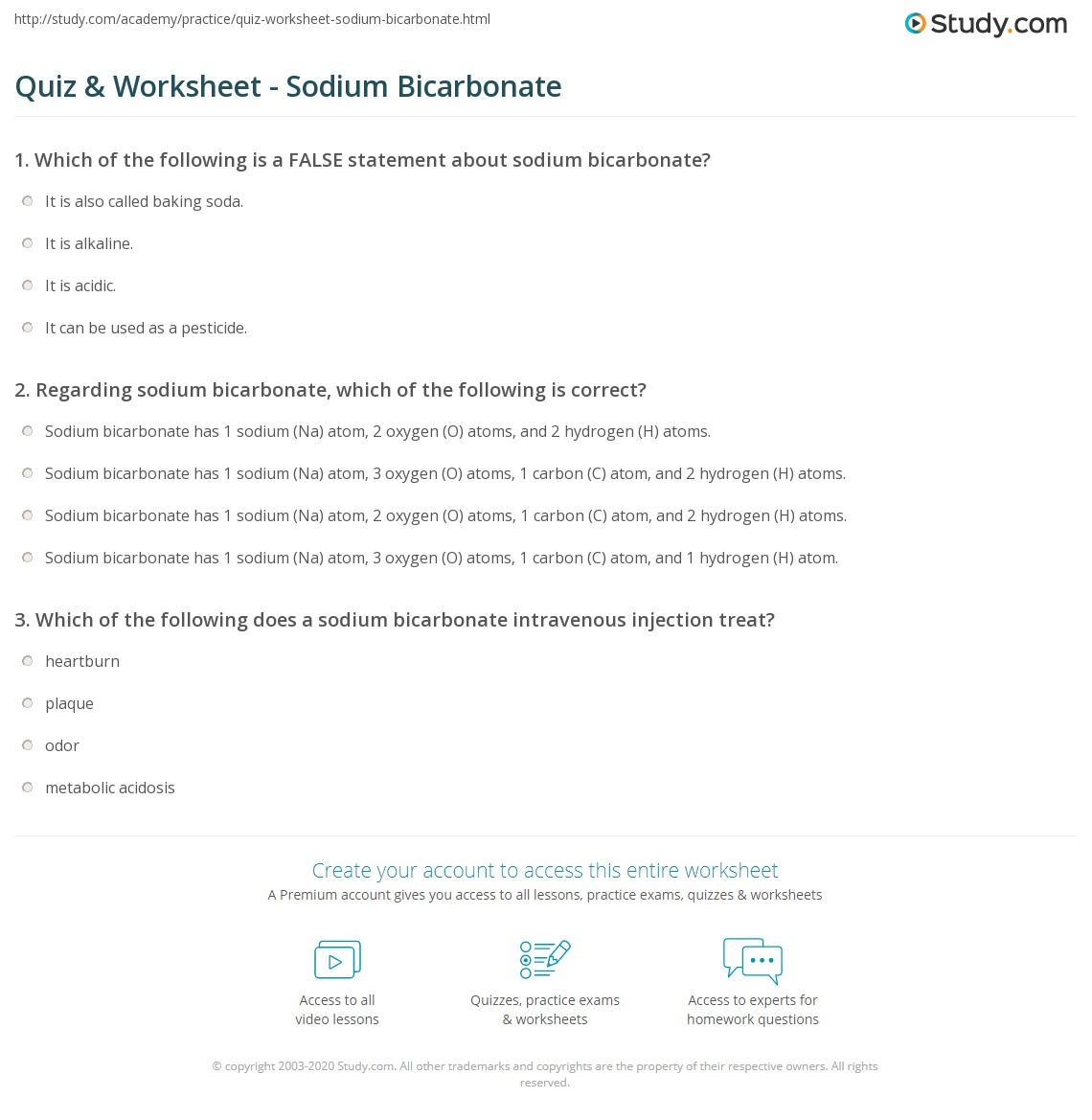 Quiz & Worksheet - Sodium Bicarbonate   Study com