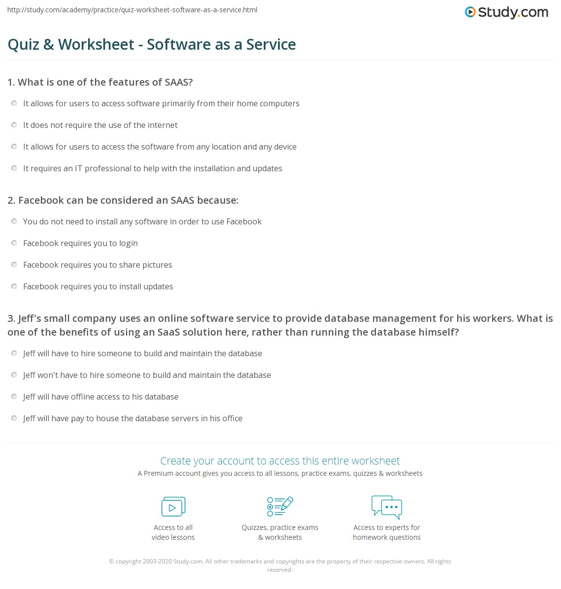 quiz & worksheet - software as a service | study