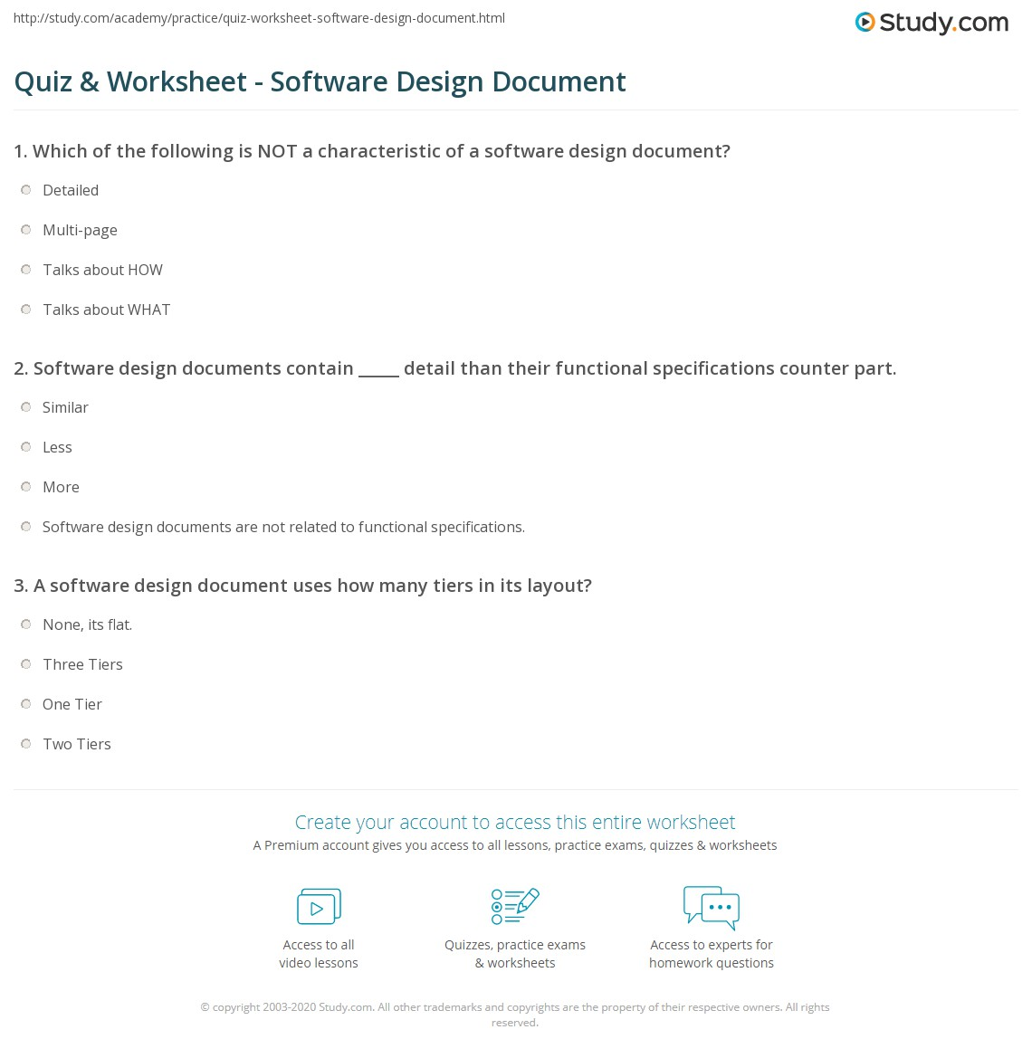 Quiz Worksheet Software Design Document Study Com