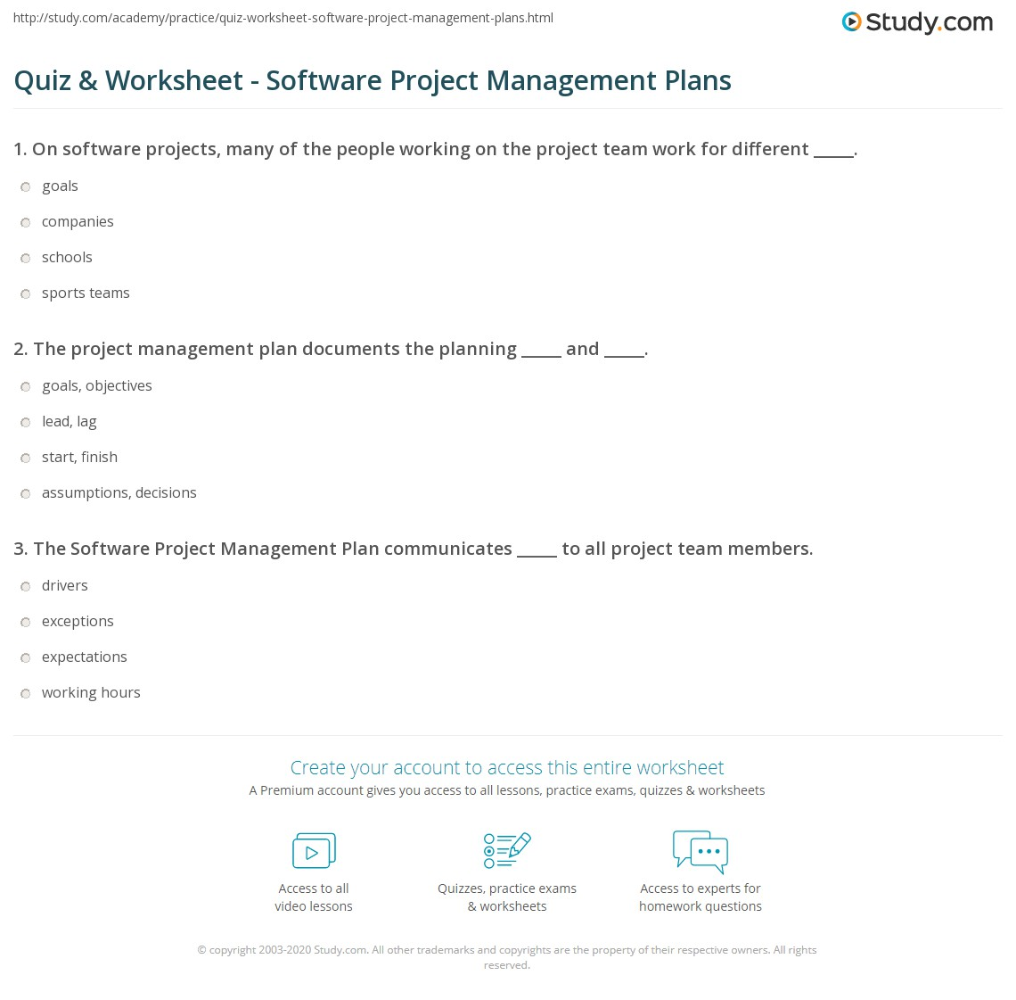 Quiz Worksheet Software Project Management Plans Study