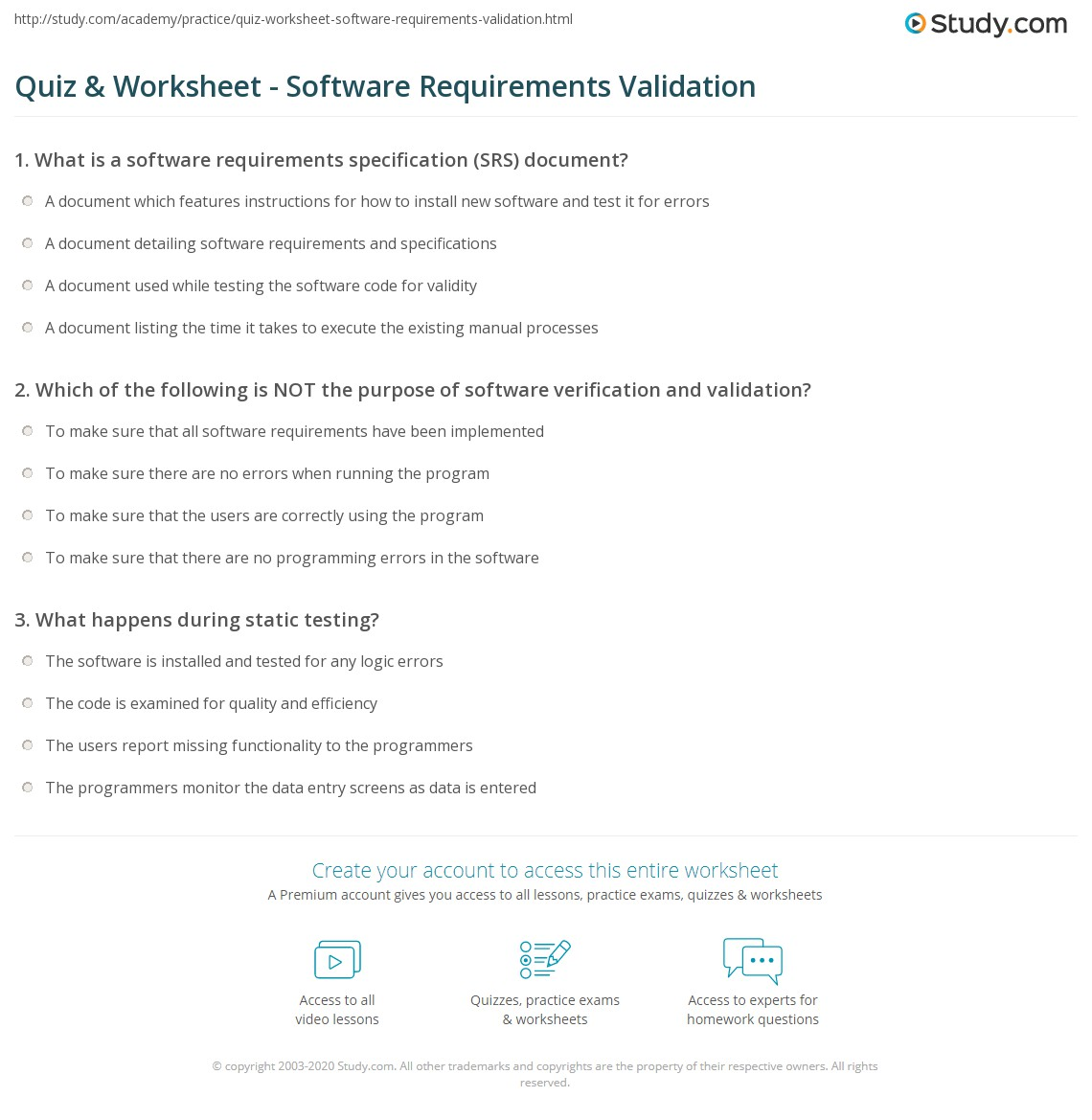 Srs Software Requirement Specification Template | Quiz Worksheet Software Requirements Validation Study Com