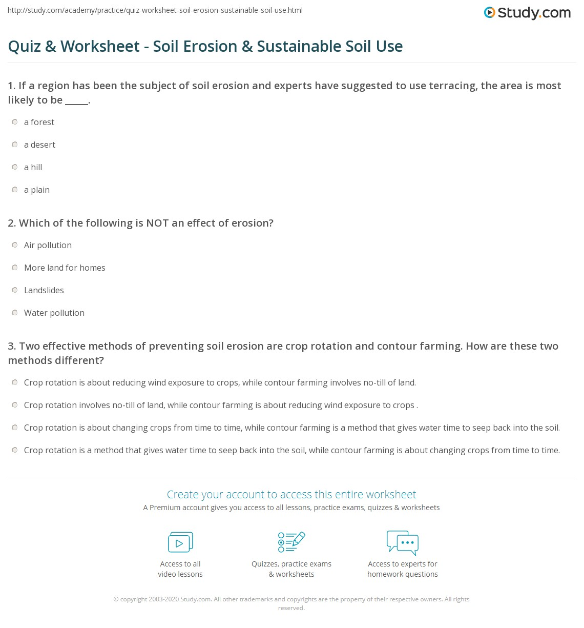 Quiz worksheet soil erosion sustainable soil use for Soil questions