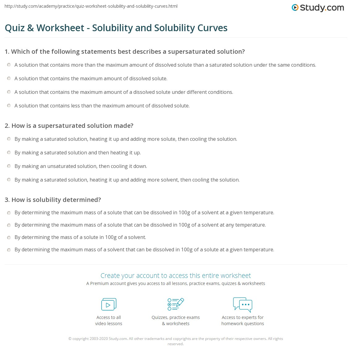 Quiz Worksheet Solubility and Solubility Curves – Molarity Calculations Worksheet