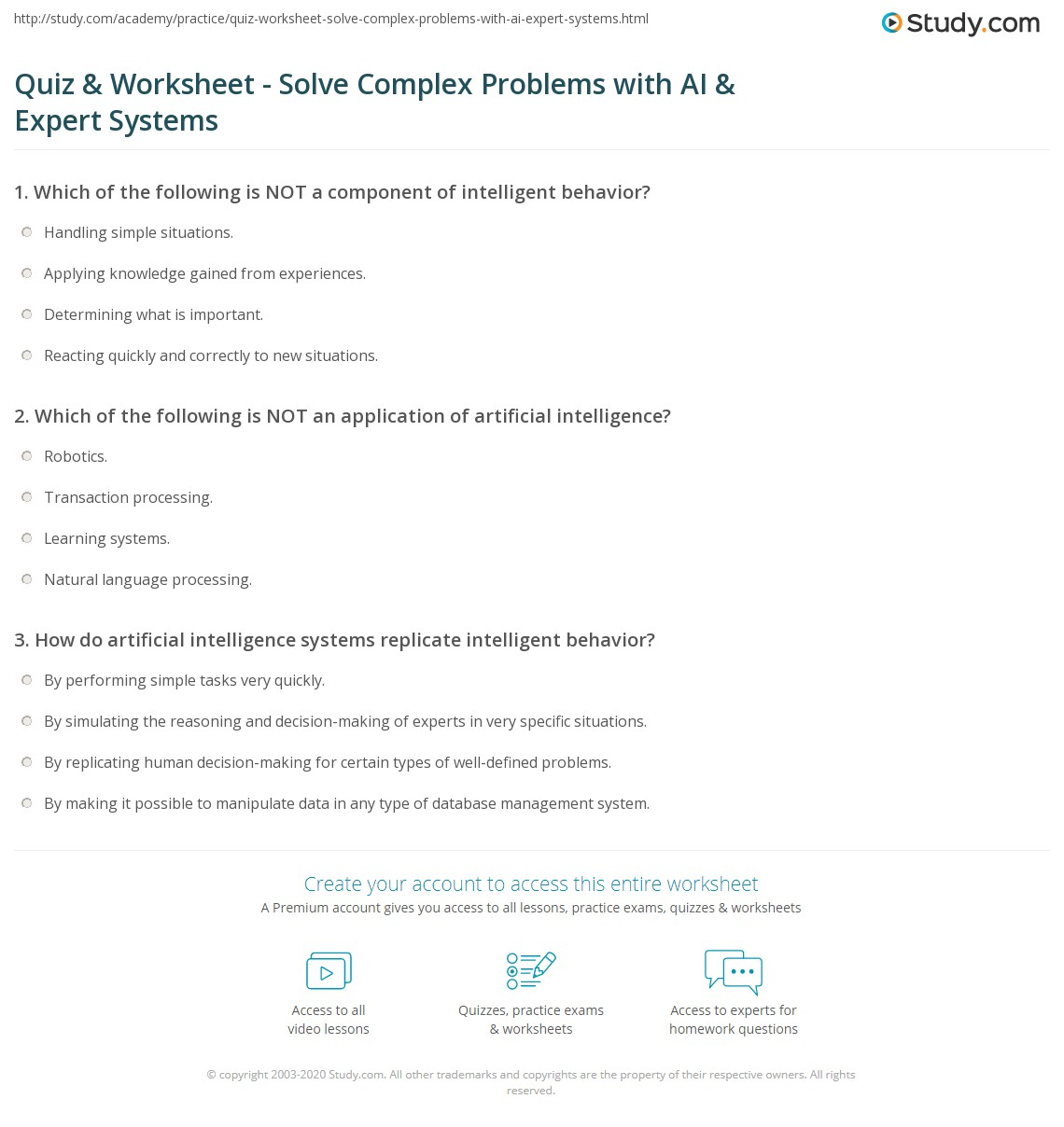 worksheet Ai Worksheets quiz worksheet solve complex problems with ai expert systems print using artificial intelligence and to worksheet