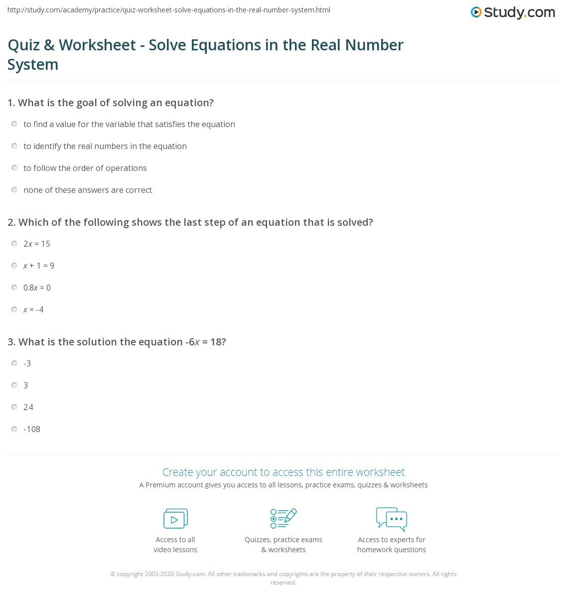 Quiz Worksheet Solve Equations in the Real Number System – Real Number System Worksheet