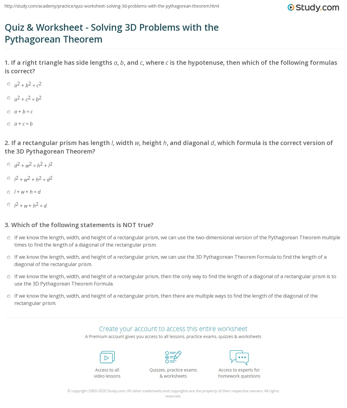 worksheet Pythagorean Theorem Problems Worksheet quiz worksheet solving 3d problems with the pythagorean theorem print using to solve worksheet