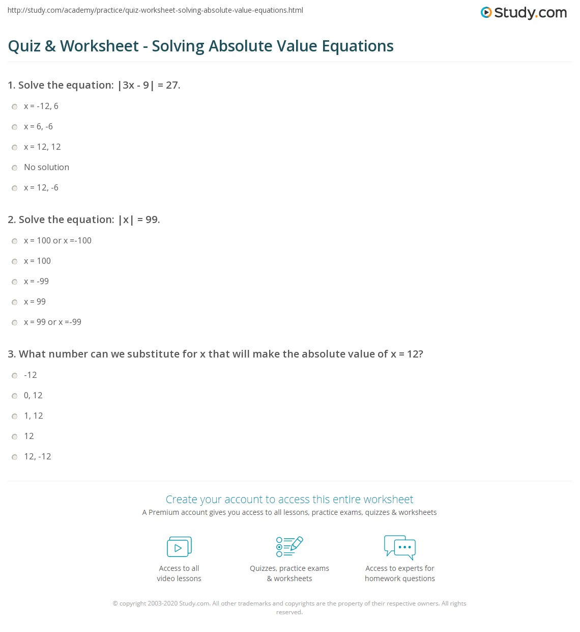 Quiz Worksheet Solving Absolute Value Equations Study Com