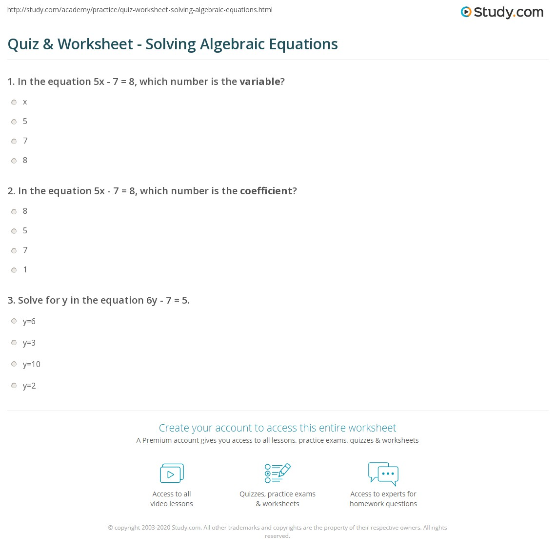 Worksheets Solving Algebraic Equations Worksheet quiz worksheet solving algebraic equations study com print definition examples worksheet