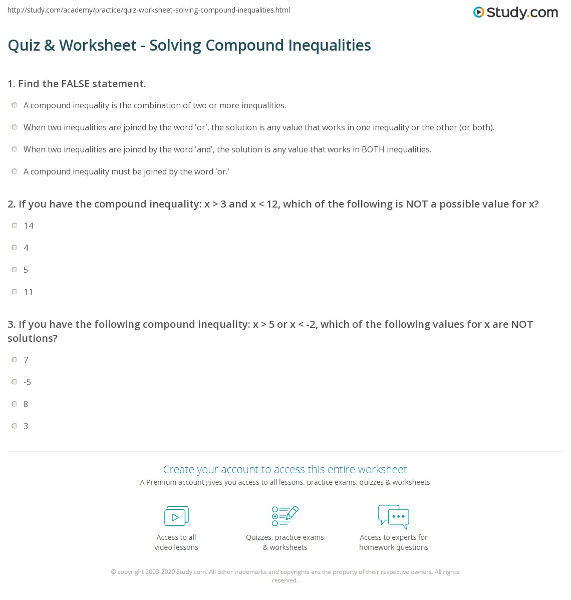 Quiz & Worksheet - Solving Compound Inequalities | Study.com