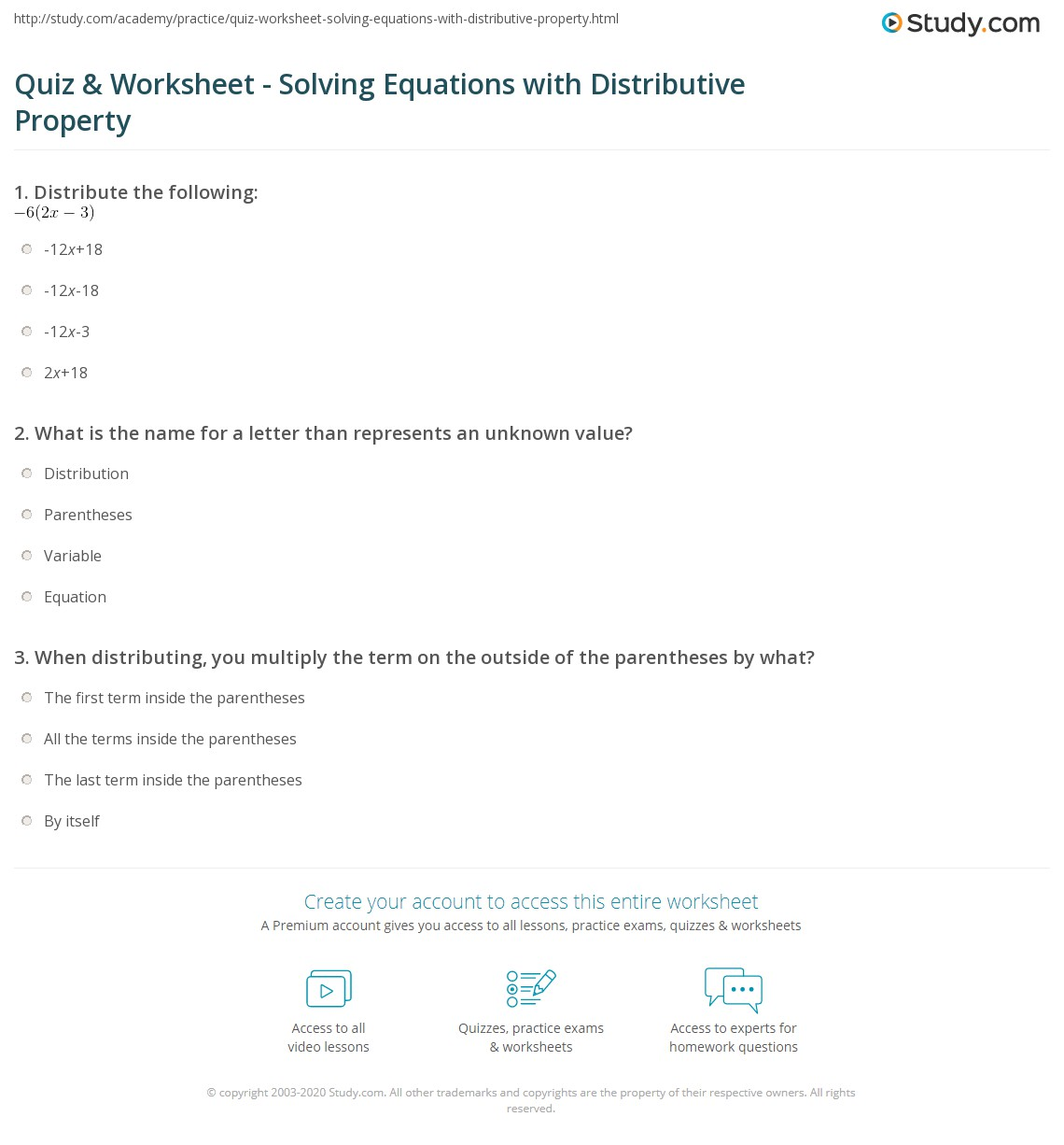 Quiz & Worksheet - Solving Equations with Distributive Property ...