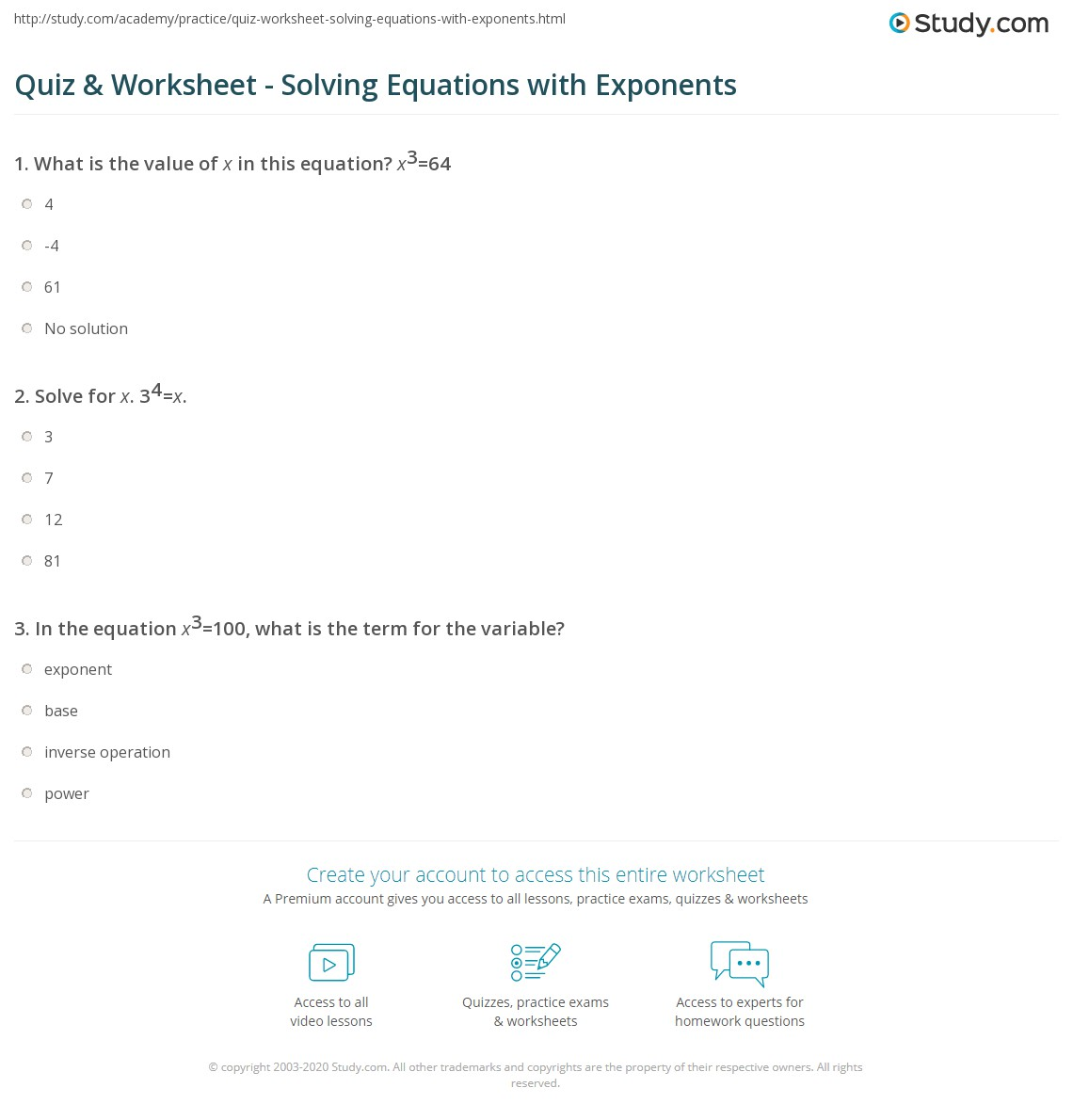 Quiz Worksheet Solving Equations With Exponents Study Com