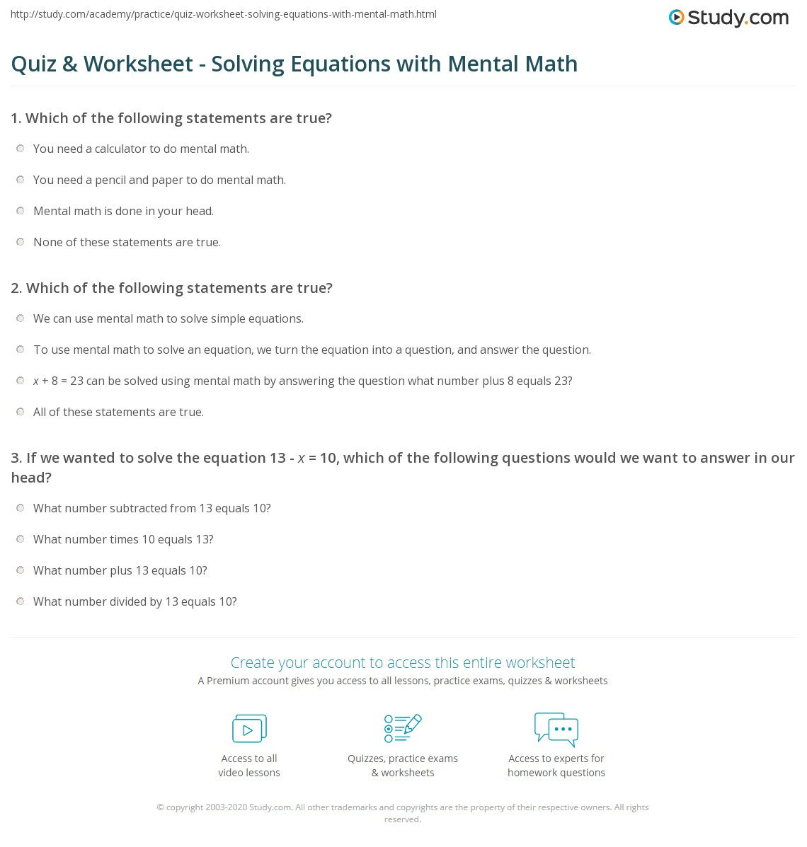 worksheet Solving Algebraic Equations Worksheets quiz worksheet solving equations with mental math study com print how to use solve worksheet
