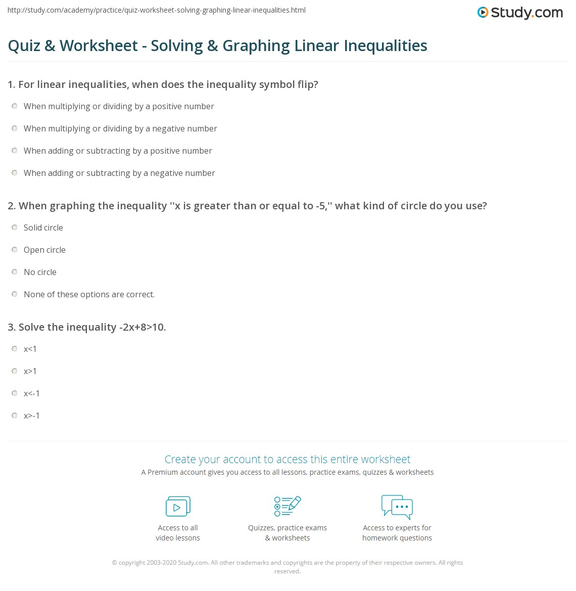 worksheet Solving And Graphing Inequalities Worksheet Pdf quiz worksheet solving graphing linear inequalities study com print inequality problems worksheet