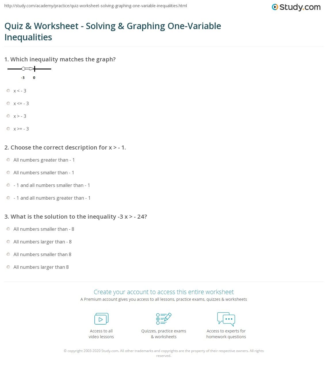 Worksheets Solving Quadratic Inequalities Worksheet quiz worksheet solving graphing one variable inequalities print how to solve and graph worksheet