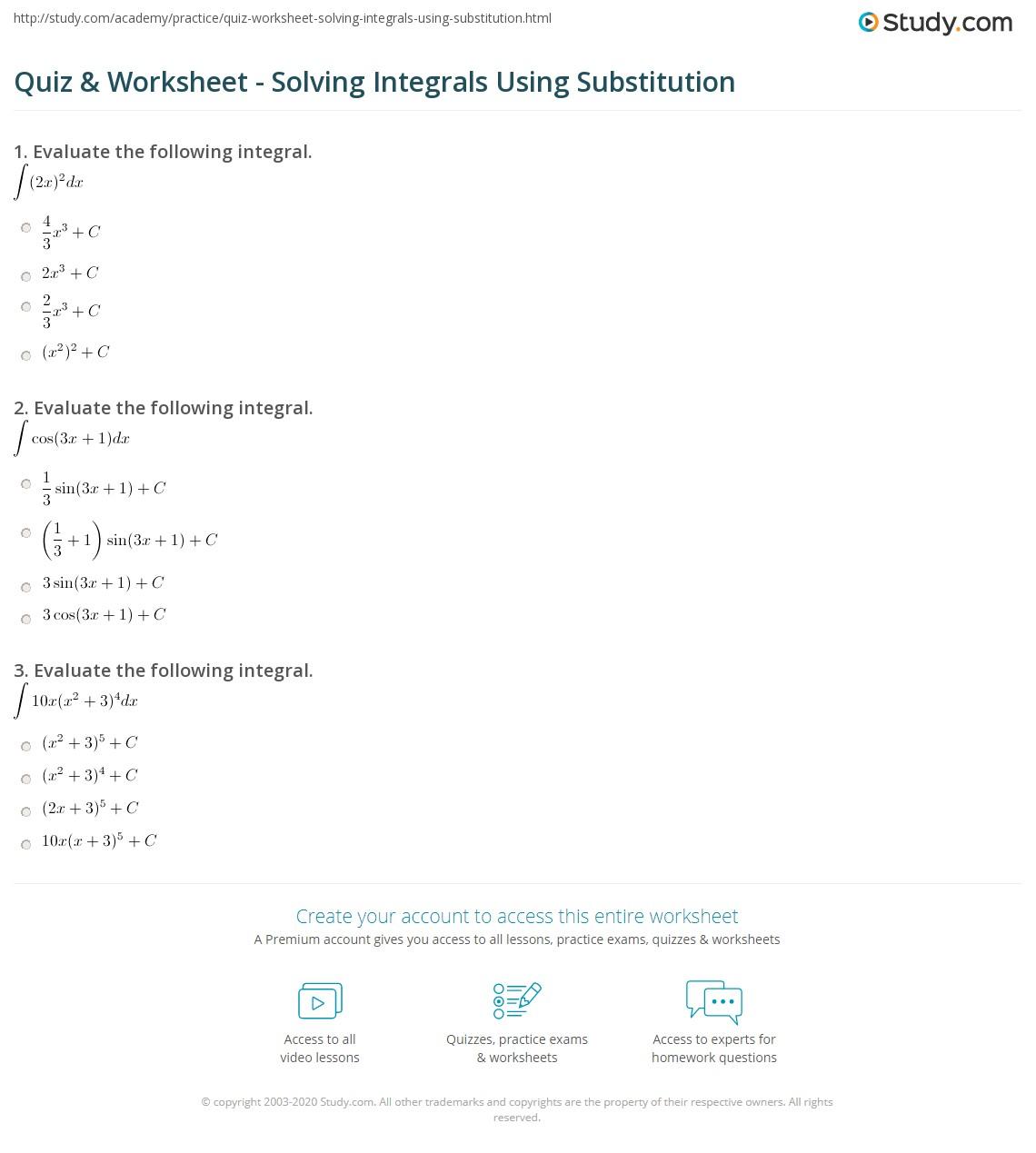 Quiz & Worksheet - Solving Integrals Using Substitution | Study.com