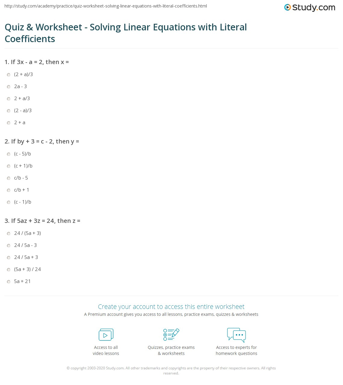 Quiz Worksheet Solving Linear Equations With Literal