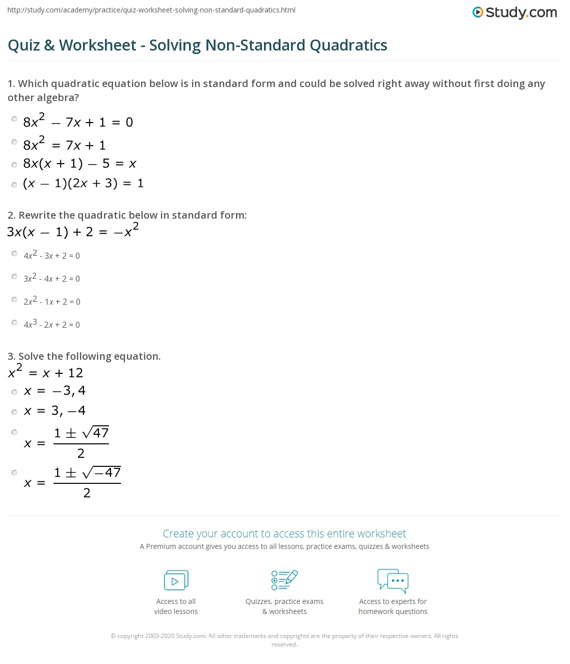 Quiz Worksheet Solving Non Standard Quadratics Study