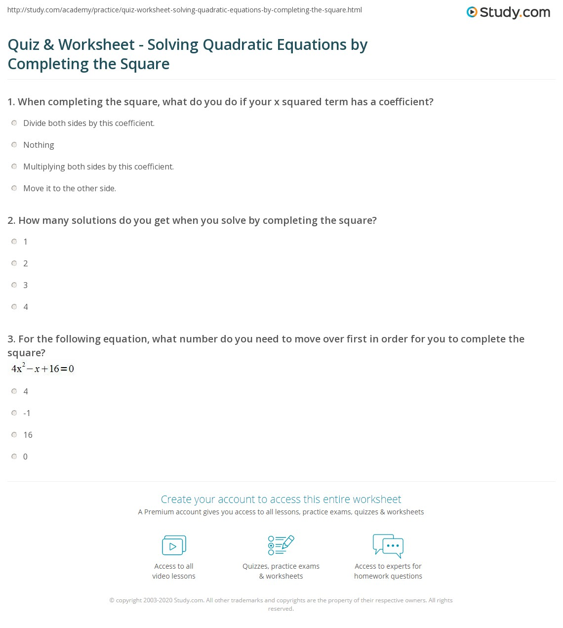 Quiz Worksheet Solving Quadratic Equations By Completing The