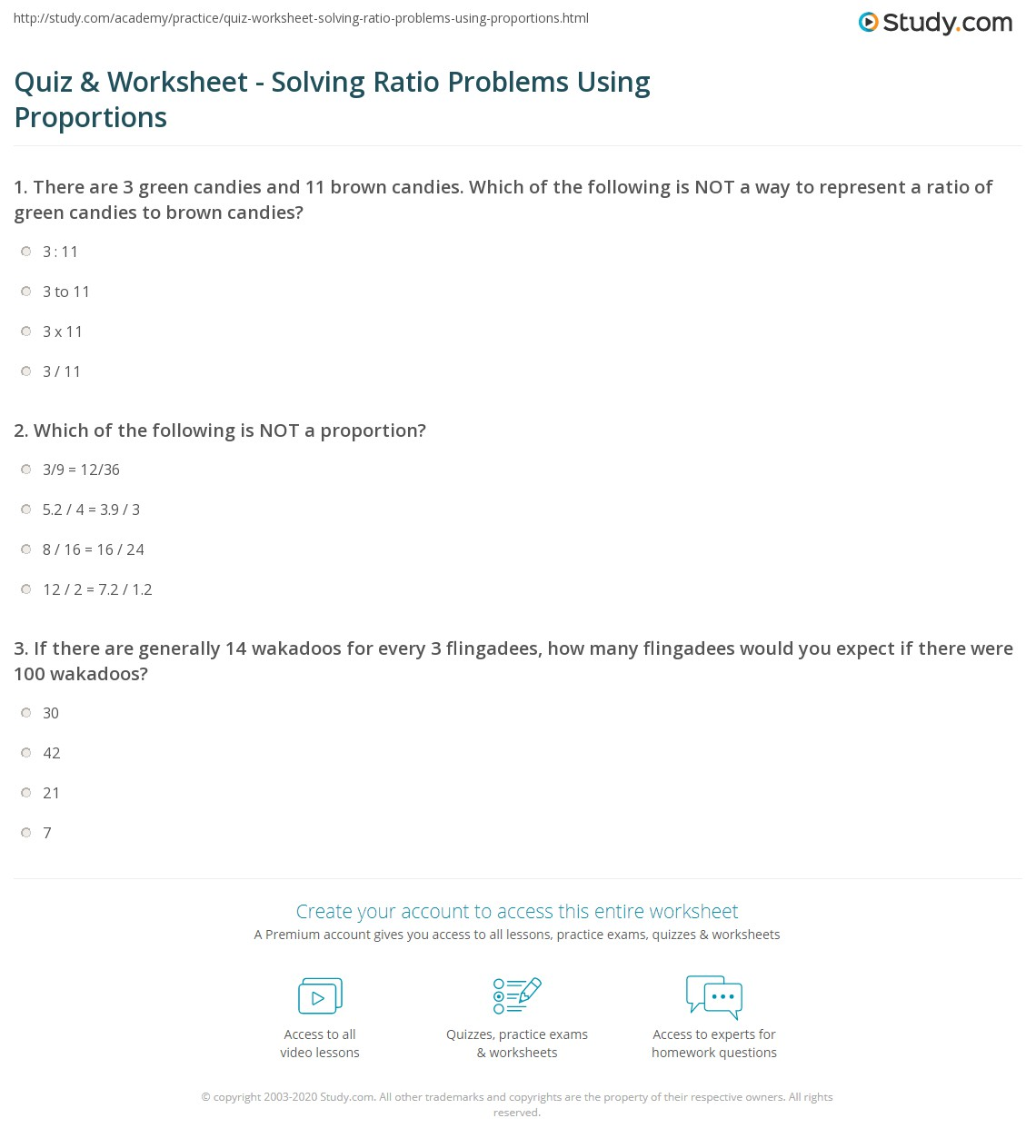 Worksheets Proportions Worksheet quiz worksheet solving ratio problems using proportions print to solve worksheet
