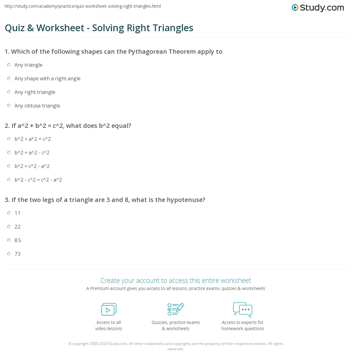 Quiz & Worksheet - Solving Right Triangles | Study.com
