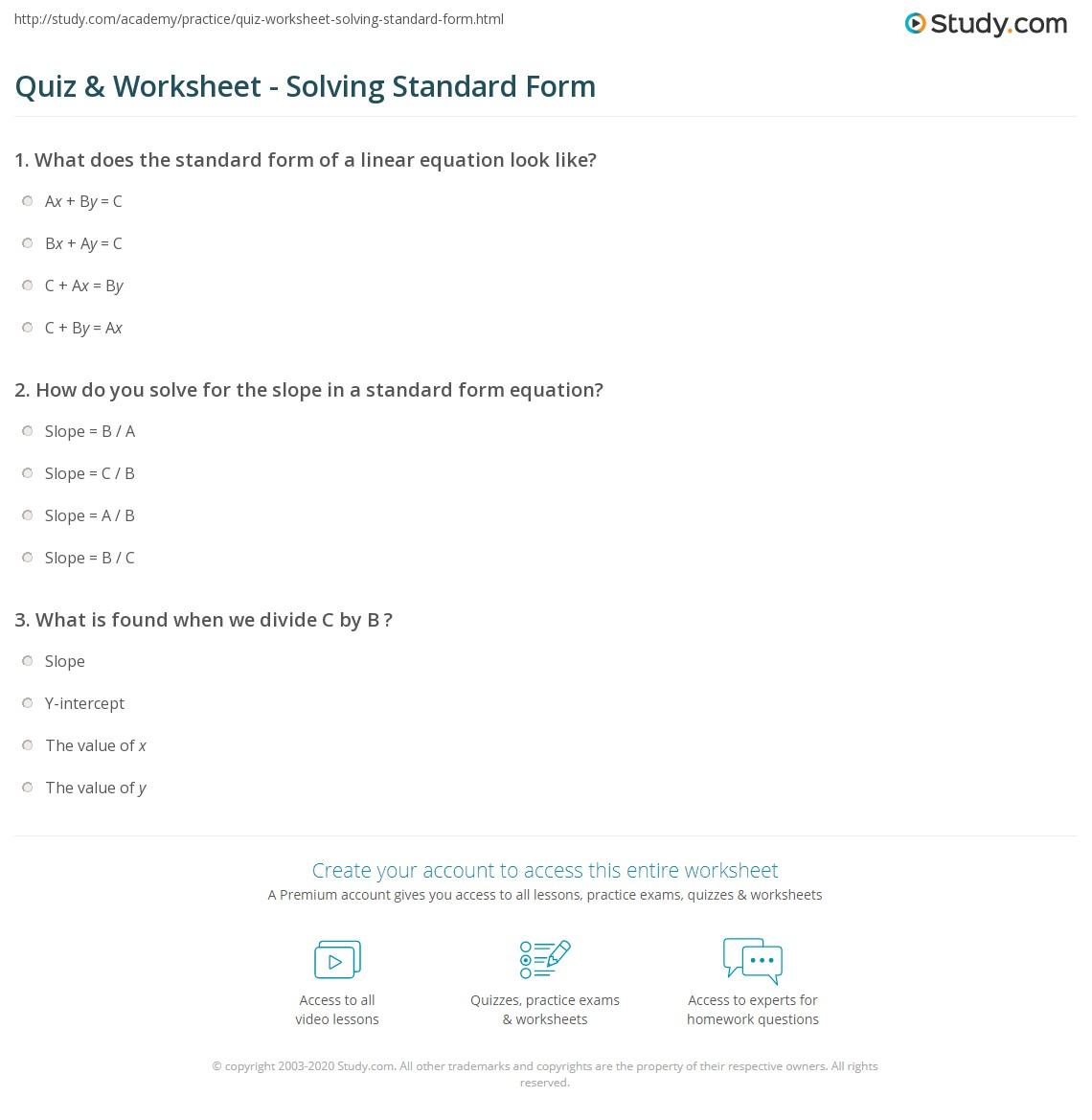 Convert Forms 100000 001 Pin Standard Form Worksheet Grade Math ...