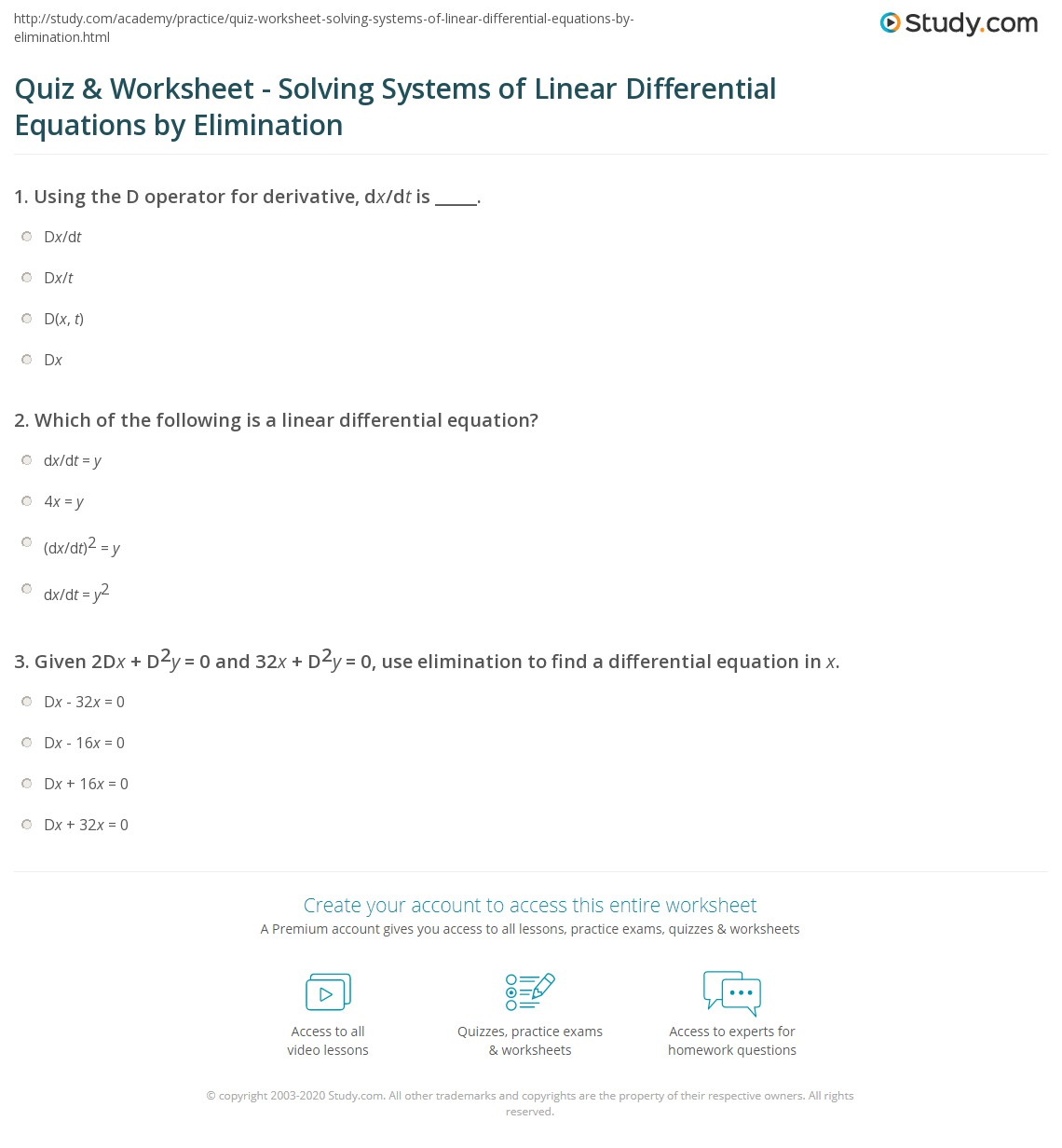 Quiz Worksheet Solving Systems Of Linear Differential Equations