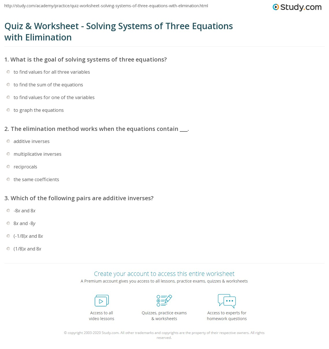 quiz worksheet solving systems of three equations with elimination. Black Bedroom Furniture Sets. Home Design Ideas