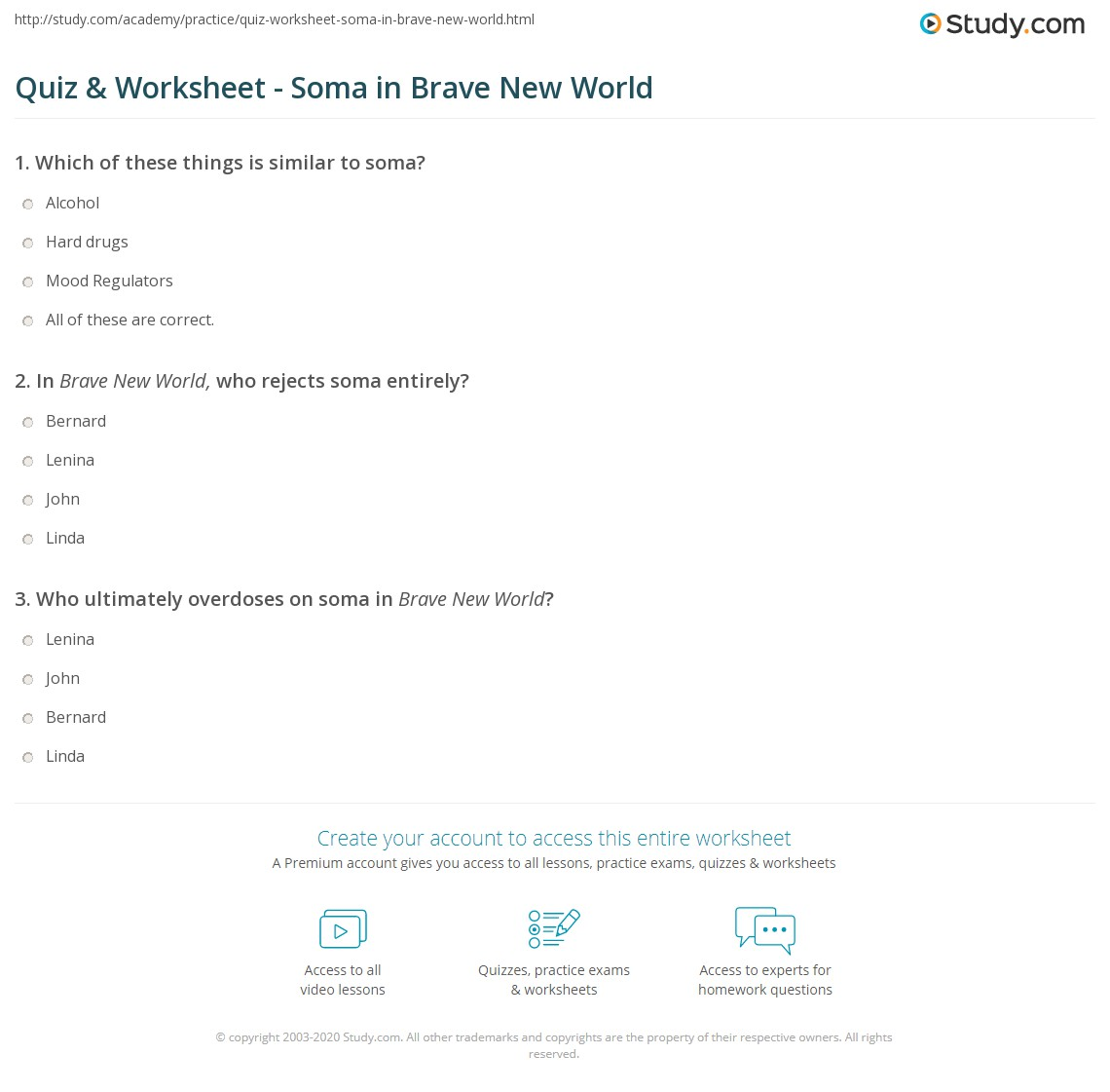 Brave New World Quotes About Soma Quiz & Worksheet  Soma In Brave New World  Study