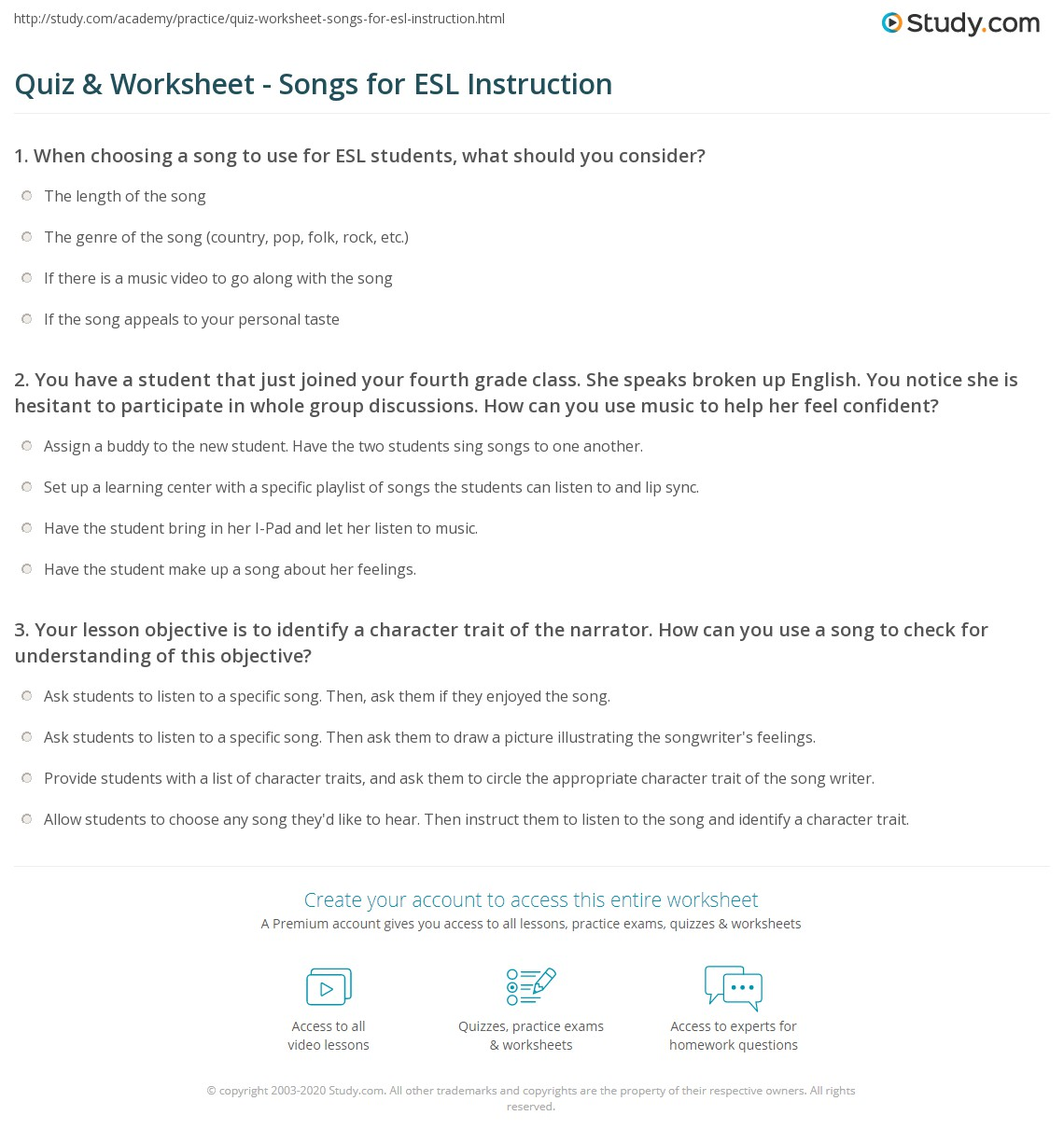 worksheet Esl Personality Worksheet quiz worksheet songs for esl instruction study com 1 you have a student that just joined your fourth grade class she speaks broken up english notice is hesitant to participate in who