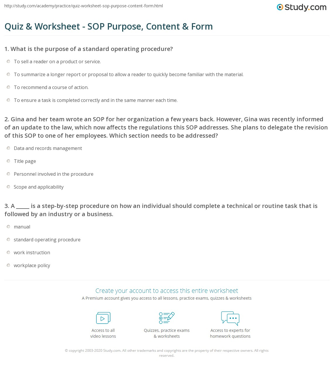 Quiz worksheet sop purpose content form study gina and her team wrote an sop for her organization a few years back however gina was recently informed of an update to the law which now affects the falaconquin