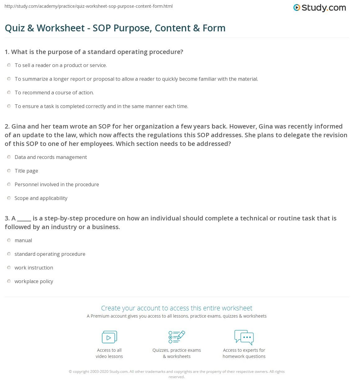 Quiz & Worksheet - SOP Purpose, Content & Form | Study.com