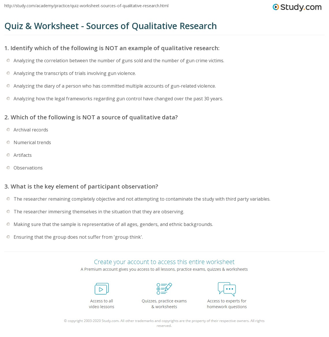 Quiz Worksheet Sources Of Qualitative Research Study