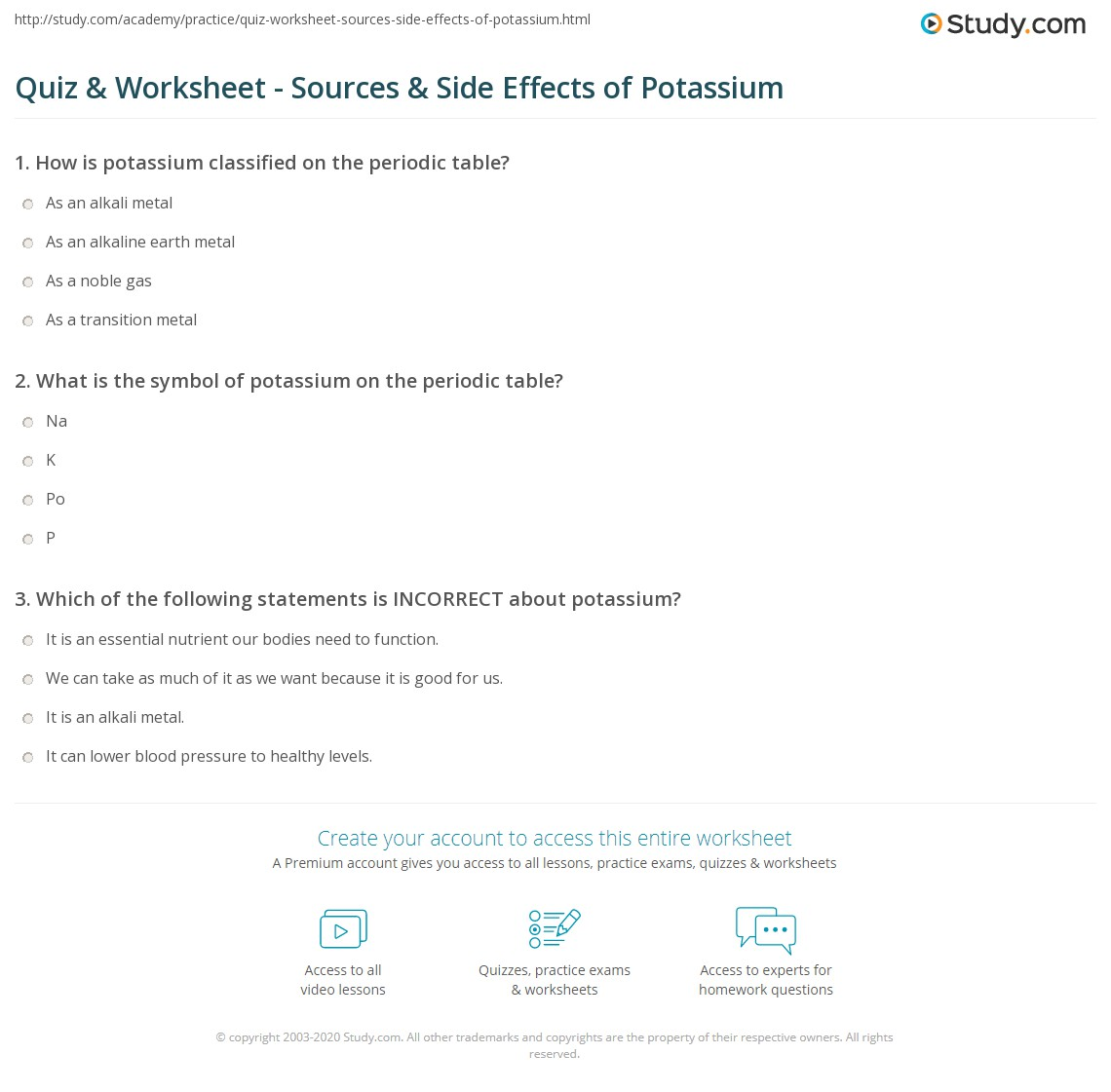 Quiz Worksheet Sources Side Effects Of Potassium Study