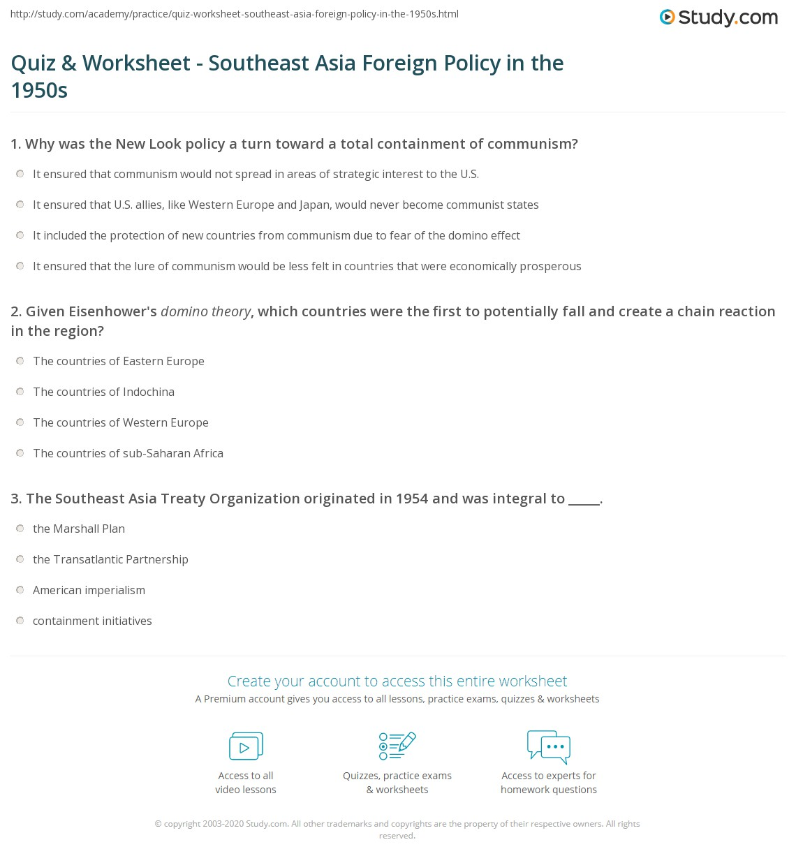 quiz worksheet southeast asia foreign policy in the 1950s. Black Bedroom Furniture Sets. Home Design Ideas