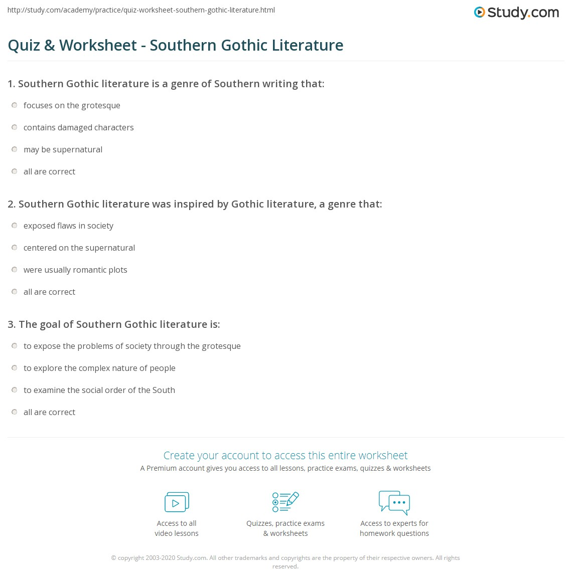 Print Southern Gothic Literature Definition Characteristics Authors Worksheet
