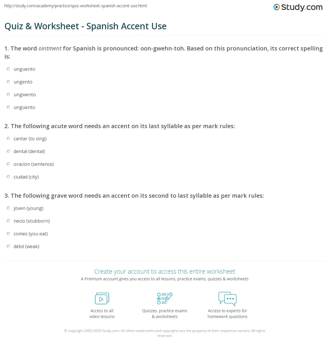 Quiz & Worksheet - Spanish Accent Use | Study.com